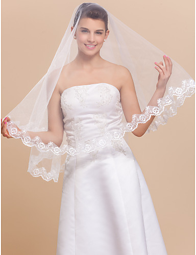 One-tier Tulle Scalloped Edge Elbow Wedding Veil With Lace Applique Edge