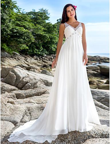 Linea-A A V Strascico da cappella Chiffon Abiti da sposa personalizzati con Perline Lustrini di LAN TING BRIDE®