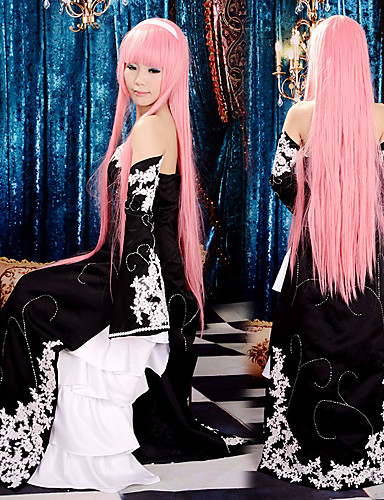 abordables Disfraces de Videojuegos-Inspirado por Vocaloid Megurine Luka Vídeo Juego Disfraces de cosplay Trajes Cosplay / Vestidos Retazos Sin Mangas Vestido Mangas Disfraces / Satín