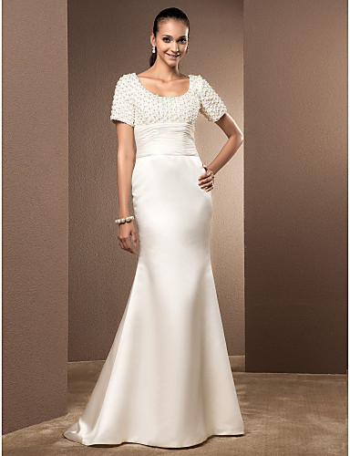 Mermaid / Trumpet Scoop Neck Court Train Lace Satin Wedding Dress with Pearl Ruched by LAN TING BRIDE®