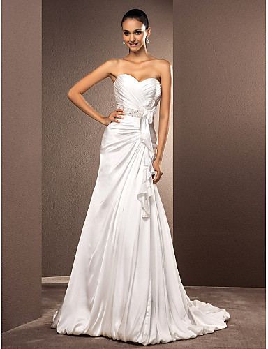 797d1d94fbe2 A-Line Sweetheart Neckline Court Train Satin Chiffon Made-To-Measure Wedding  Dresses with Sash / Ribbon / Criss-Cross by LAN TING BRIDE®