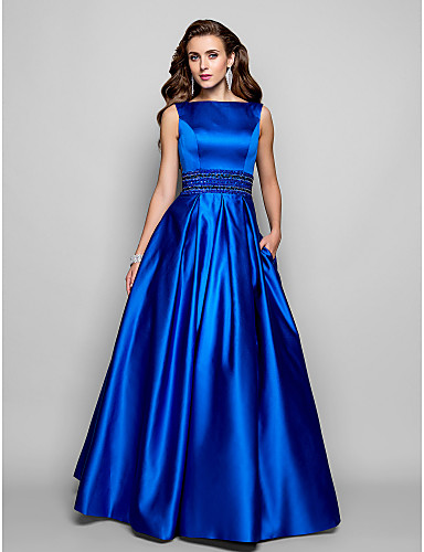 cheap Prom Dresses-A-Line Boat Neck Floor Length Satin Formal Evening Dress with Beading / Pleats by TS Couture®