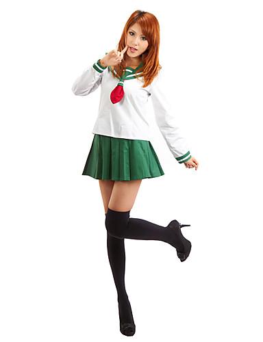 povoljno Anime kostimi-Inspirirana InuYasha Higurashi Kagome Anime Cosplay nošnje Japanski Cosplay Suits / School Uniforms Jednobojni Dugih rukava Top / Suknja Za Žene