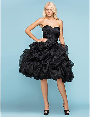 Plesové šaty Srdcový výstřih Ke kolenům Organza Svatební šaty s Nabíraná sukně Křížení Sklady podle LAN TING BRIDE®