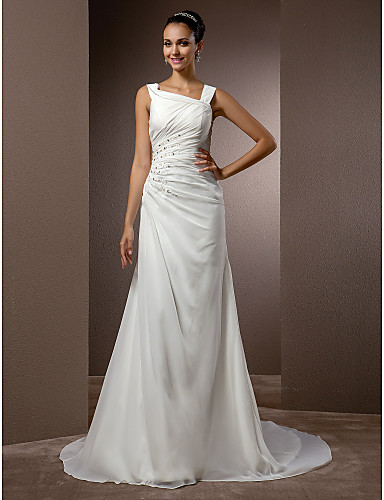 Sheath / Column Straps Court Train Chiffon Made-To-Meature Wedding Dresses with Beading / Side-Draped by LAN TING BRIDE®