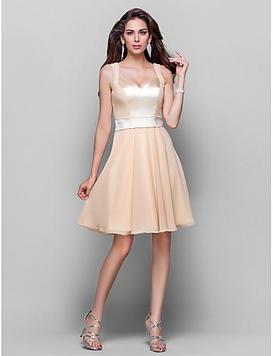 A-Linie V-Ausschnitt Knie-Länge Chiffon Cocktailparty Kleid mit Schärpe / Band durch TS Couture®