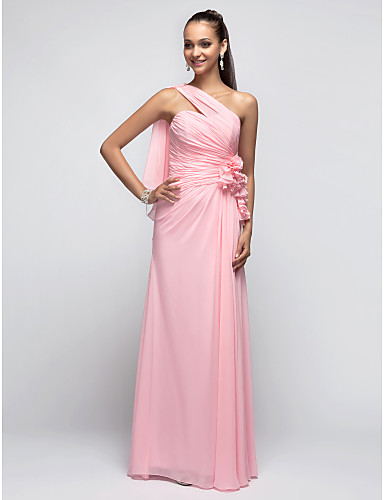 Sheath / Column One Shoulder Floor Length Chiffon Prom Formal Evening Military Ball Dress with Flower Ruched Side Draping by TS Couture®