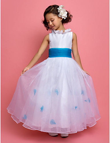 A-Line Princess Ankle Length Flower Girl Dress - Organza Taffeta Sleeveless Jewel Neck with Sash / Ribbon Flower Ruched by LAN TING BRIDE®