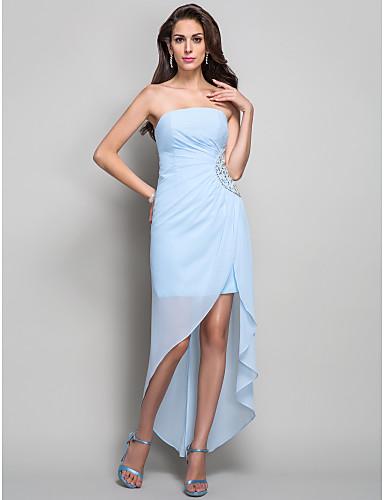 Eng anliegend Trägerlos Asymmetrisch Chiffon Formeller Abend Kleid mit Perlenstickerei / Kristall Verzierung / Seitlich drapiert durch TS