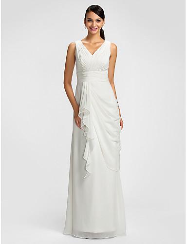 Sheath / Column V Neck Floor Length Chiffon Bridesmaid Dress with Draping Sash / Ribbon Criss Cross Cascading Ruffles Side Draping by LAN