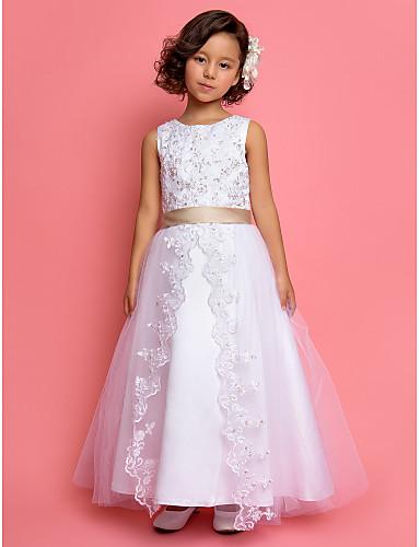 A-Şekilli / Prenses Taşlı Yaka Bilek Boyu Saten / Tül Payet / Dantel / İnci Detayları ile Çiçekçi Kız Elbisesi tarafından LAN TING BRIDE®