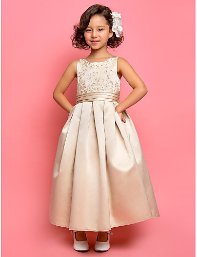 A-Line Princess Ankle Length Flower Girl Dress - Satin Sleeveless Jewel Neck with Appliques Draping Ruched by LAN TING BRIDE®