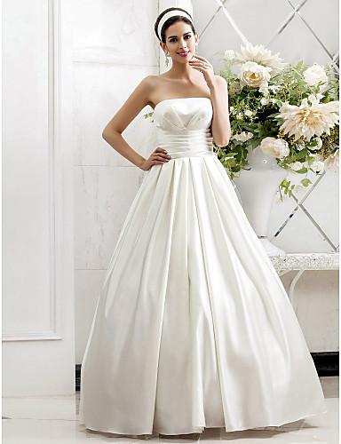 A-kroj Princeza Bez naramenica Jako kratki šlep Saten Vjenčanica s Drapirano sa strane Nabrano po LAN TING BRIDE®