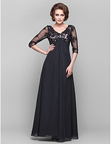 f1dbca481c879 A-Line V Neck Floor Length Chiffon / Sheer Lace Mother of the Bride Dress  with Beading / Lace / Side Draping by LAN TING BRIDE® / Illusion Sleeve /  See ...
