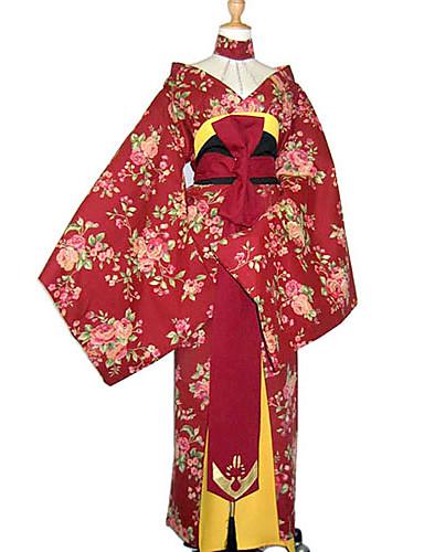 billige Etniske og kulturelle Kostymer-Japansk Kimono Dame Nytt År Maskerade Festival / høytid Bomull Rød Karneval Kostumer Blomstret