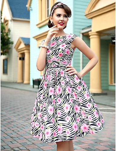 TS VINTAGE Flora Print Sleeveless Skater Dress