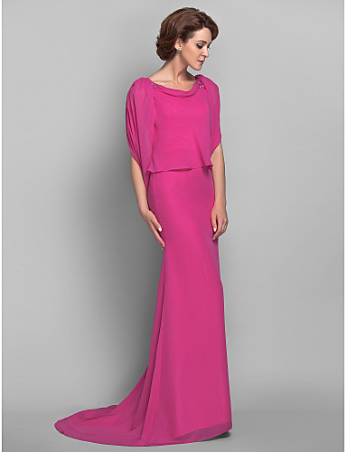 Mermaid / Trumpet Bateau Neck Sweep / Brush Train Chiffon Mother of the Bride Dress with Beading by LAN TING BRIDE®