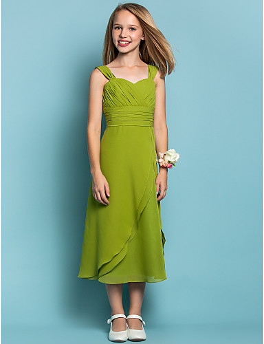 Sheath / Column Straps Tea Length Chiffon Junior Bridesmaid Dress with Ruched Criss Cross by LAN TING BRIDE®
