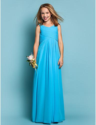 7b936098c32c Sheath / Column Scoop Neck Floor Length Chiffon Junior Bridesmaid Dress  with Draping / Criss Cross / Ruched by LAN TING BRIDE® 551558 2019 – $69.99