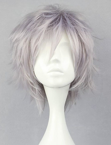 cheap Videogame Cosplay Wigs-Final Fantasy Hope Estheim Cosplay Wigs Men's 12 inch Heat Resistant Fiber Silver Anime