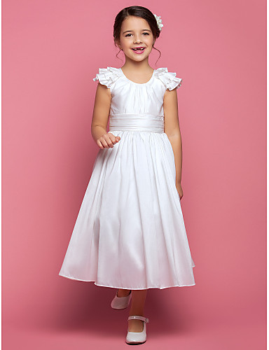 A-Linie Princess K lýtkům Šaty pro květinovou družičku - Taft Bez rukávů Scoop Neck s Nabírání Sklady Volány podle LAN TING BRIDE®
