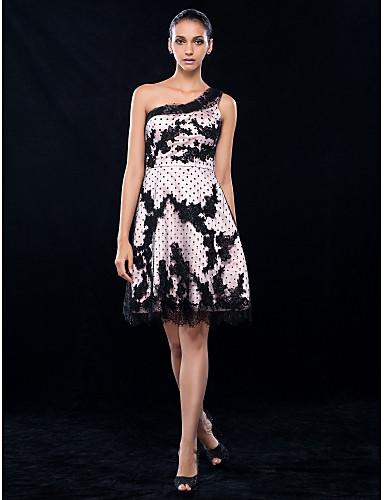 O prințesă a-linie o genunchi pe genunchi lungime dantelă stretch satin cocktail partid rochie homecoming cu dantelă de ts couture®
