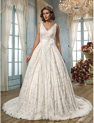 999e4f28dc67 A-Line V Neck Chapel Train Lace Made-To-Measure Wedding Dresses with ...