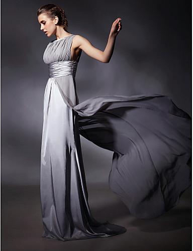 시스 / 칼럼 쥬얼리 스윕 / 브러쉬 트레인 쉬폰 스트래치 새틴 포멀 이브닝 드레스 와 허리끈/리본 으로 TS Couture®