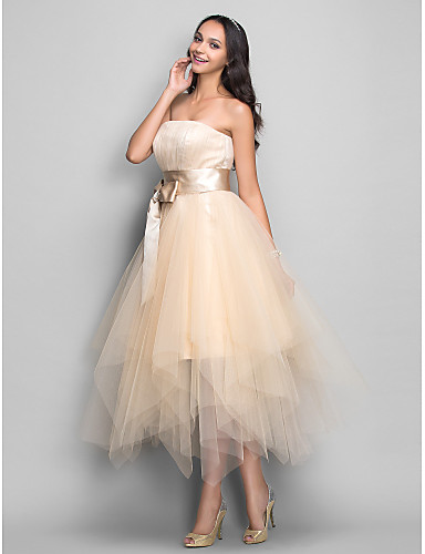 cheap Varieties of Occasions-Ball Gown Strapless Tea Length Satin / Tulle Cocktail Party / Prom Dress with Bow(s) / Sash / Ribbon by TS Couture®