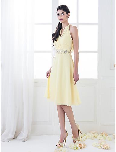 A-Şekilli Prenses Yüksek Yaka Diz Boyu Şifon Boncuklama Kristal Detaylar Haç ile Nedime Elbisesi tarafından LAN TING BRIDE®