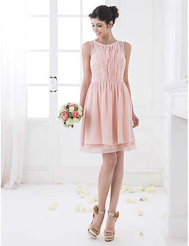 A-Line Jewel Neck Knee Length Chiffon Bridesmaid Dress with Draping Ruching by LAN TING BRIDE®