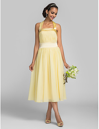 A-Line Halter Tea Length Chiffon Stretch Satin Bridesmaid Dress with Draping Bandage by LAN TING BRIDE®
