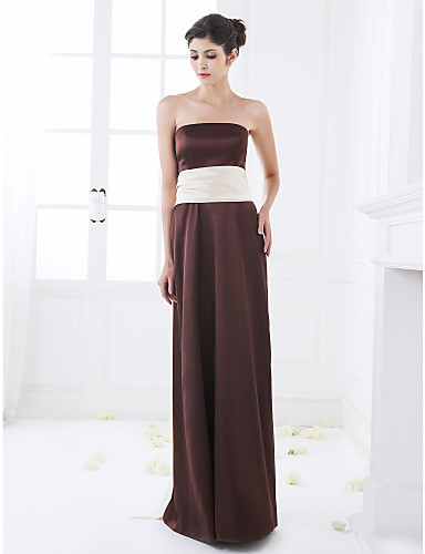 A-Line Strapless Floor Length Stretch Satin Bridesmaid Dress with Sash / Ribbon by LAN TING BRIDE®