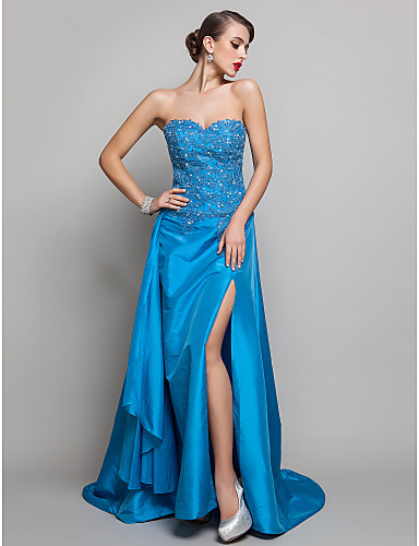 A-Line Sweetheart Sweep / Brush Train Taffeta Prom Formal Evening Military Ball Dress with Beading Appliques Split Front by TS Couture®
