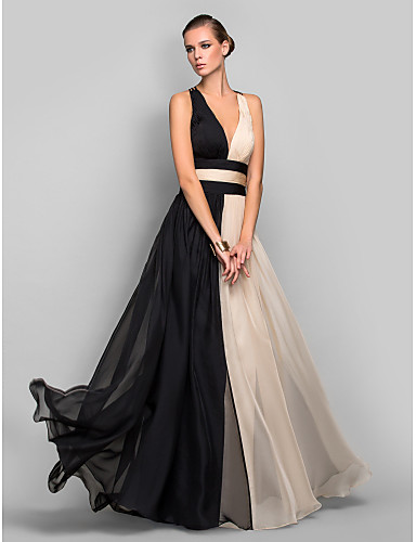 A Line Plunging Neck Floor Length Chiffon Open Back Color Block