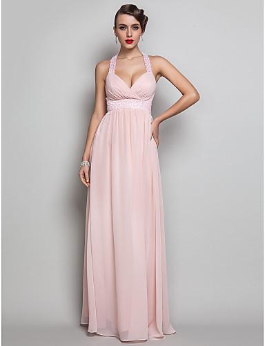 Sütun V Yaka Yere Kadar Şifon Boncuklama / Kırma Dantel ile Balo / Düğün Partisi Elbise tarafından TS Couture® / Açık Sırtlı