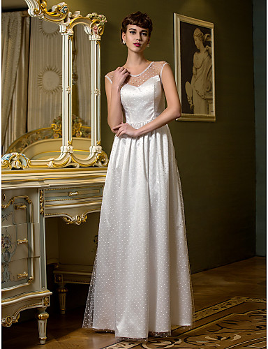 Sheath / Column Scoop Neck Floor Length Tulle Wedding Dress with Draped by LAN TING BRIDE®
