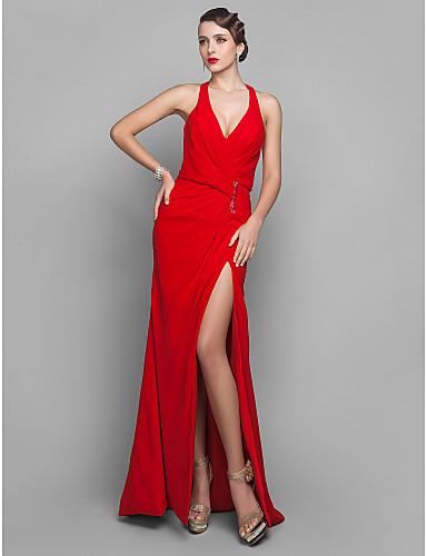 Sütun V Yaka Yere Kadar Jorget Payet Ayrık Ön ile Resmi Akşam / Askeri Balo Elbise tarafından TS Couture®