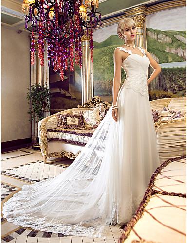 A-kroj Spuštena ramena Do poda Til Prilagođene vjenčanice s Perlica Aplikacije Ukriženo po LAN TING BRIDE®