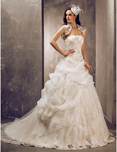 Ball Gown Strapless Sweep / Brush Train Lace Tulle Wedding Dress with Beading Appliques Pick Up Skirt by LAN TING BRIDE®