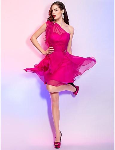 A-Şekilli Tek Omuz Kısa / Mini Şifon Kristal Detaylar Çiçekli ile Tatil Elbise tarafından TS Couture®