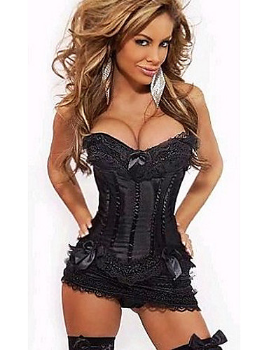 cheap Sexy Costumes-Women's More Costumes Sex Cosplay Costume Solid Colored Skirt Corset T-Back / Lace / Satin