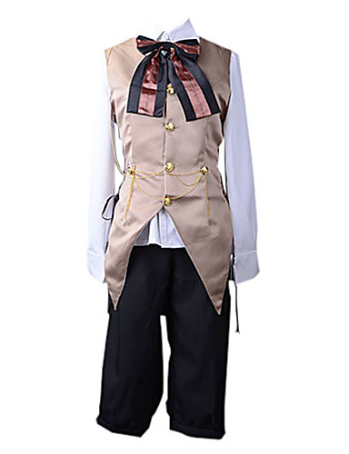 voordelige Cosplay & Kostuums-geinspireerd door Vocaloid Kagamine Len Video Spel Cosplaykostuums Cosplay Kostuums Patchwork Ves Blouse Broeken kostuums / Satiini