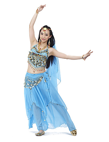Belly Dance Outfits Women's Training Chiffon Beading Sequin Coin Sleeveless Top Skirt Hip Scarf Headwear