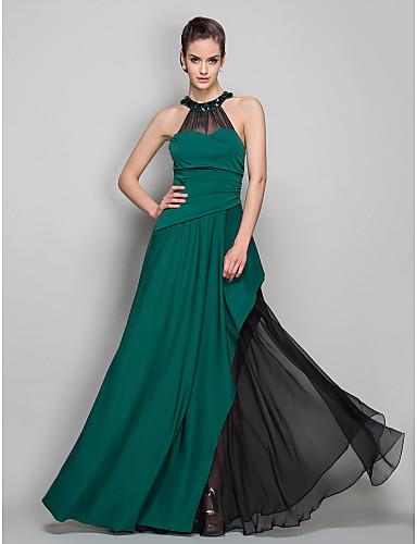 Sütun Illüzyon boyun çizgisi Yere Kadar Şifon Jarse Kristal Broş Yan Drape ile Resmi Akşam Elbise tarafından TS Couture®