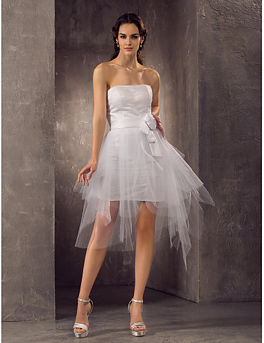 Coloană / Teacă Fără Bretele Mini / Scurt Tulle Made-To-Measure rochii de mireasa cu Eșarfă / Panglică / Pliuri / Flori de LAN TING BRIDE®