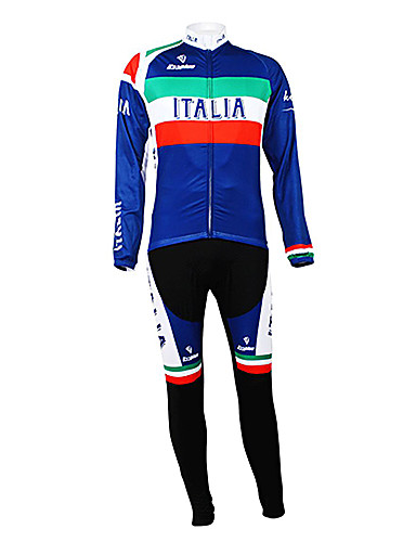 cheap Cycling Clothing-Malciklo Men's Long Sleeve Cycling Jersey with Bib Tights Italy Champion National Flag Bike Clothing Suit Thermal / Warm Fleece Lining Breathable Winter Sports Polyester Fleece Italy Mountain Bike