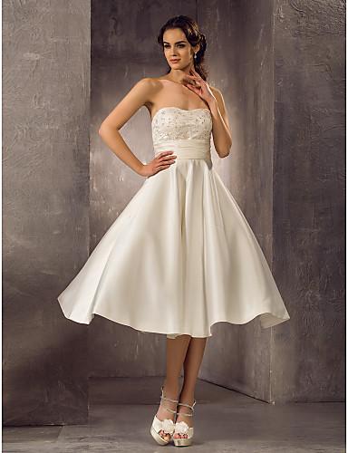 A-Linie Trägerlos Tee-Länge Spitze Satin Benutzerdefinierte Brautkleider mit Perlenstickerei Schärpe / Band durch LAN TING BRIDE®