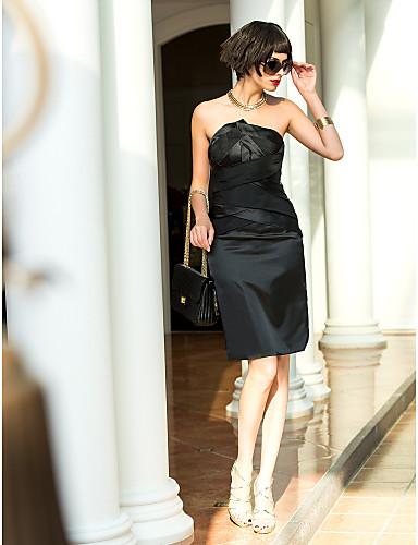 Eng anliegend Trägerlos Knie-Länge Stretch - Satin Brautjungfernkleid mit Überkreuzte Rüschen durch TS Couture®