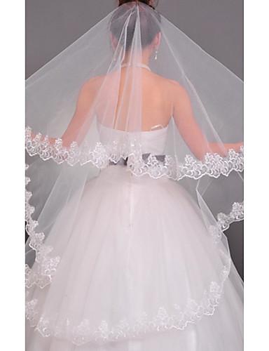 Einschichtig Spitzen-Saum Hochzeitsschleier Kapellen Schleier mit 55,12 in (140 cm) Tüll A-linie,Ball Kleid, Prinzessin,Klassisches Kleid, Meerjungfraukleid
